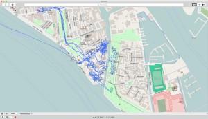 Tracé GPS représentant le déplacement de Monade 1 lors du premier jour des journées professionnelles de la Biennale.